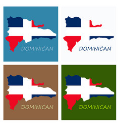 map of dominican republic with the flag north vector image