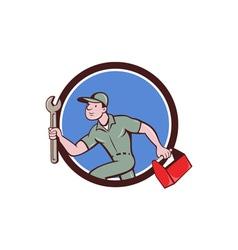 Mechanic Spanner Toolbox Running Circle Cartoon vector image