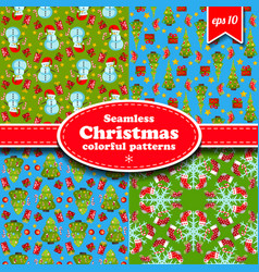 merry christmas seamless pattern set vector image