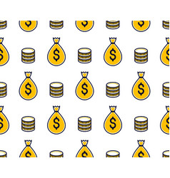 Money bags seamless background backdrop for vector