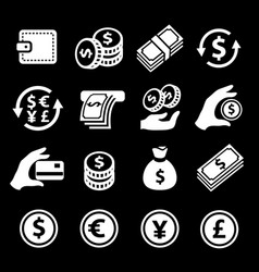 money payment icons set cash wallet and coins vector image