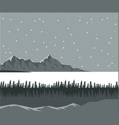 monochrome scene landscape background of far snowy vector image