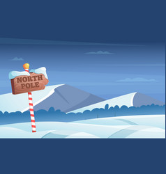 North pole road sign snowy background with snow vector