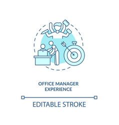 Office manager experience turquoise concept icon vector