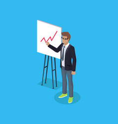 Office worker with plan on board isometric vector