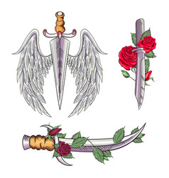 Old school styled tattoo a dagger through rose vector