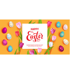 Orange easter holiday banner vector