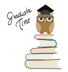 owl with eyeglasses and graduation vector image
