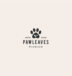 paw leaf organic pet food logo icon hipster vector image
