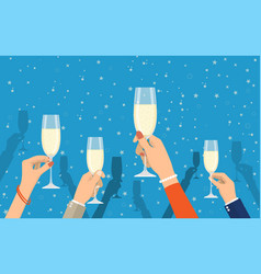 people holding champagne glasses vector image