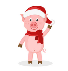 Pig in a hat and scarf waving his hoof on a white vector