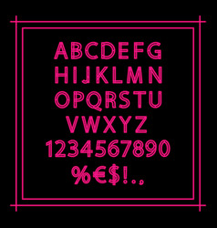 pink neon linear alphabet vector image