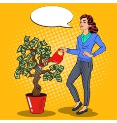 Pop Art Smiling Rich Woman Watering Money Tree vector image