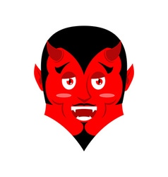 Red devil funny demon satan with horns crafty vector