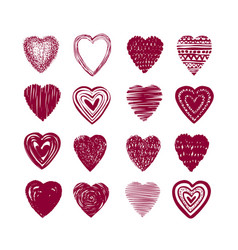 Red heart set icons love valentine romance vector