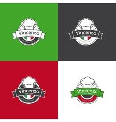 Retro badge for pizza restaurant Italian vector