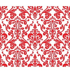 Seamless elegant damask pattern Red and white vector image