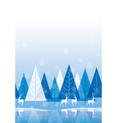 seamless winter forest background with reindeers vector image