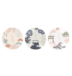 set modern graphic elements asian icons vector image