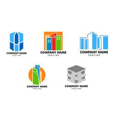 set of town logo template design vector image