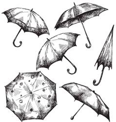 Set of umbrella drawings vector image