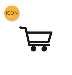 shopping cart icon isolated flat style vector image