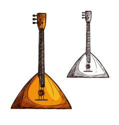 Sketch balalaika guitar musical instrument vector