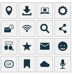 social icons set collection of video chat smile vector image