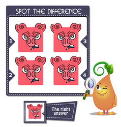Spot the difference piggy vector
