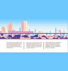 Subway monorail over city skyscraper business vector