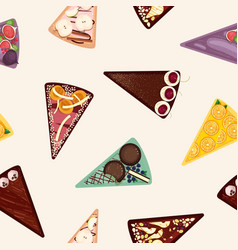 sweet cake slices seamless pattern vector image