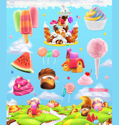 sweet candy land cartoon game background 3d set vector image