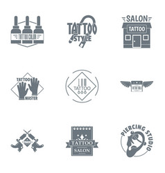 Tattoo centre logo set simple style vector