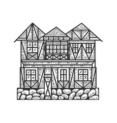 Timber framing house sketch vector