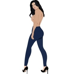 Topless girl wearing jeans skinny trousers vector