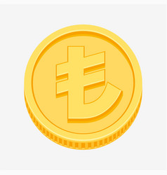 turkish lira currency symbol on gold coin vector image