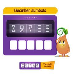 Visual game decipher symbols vector