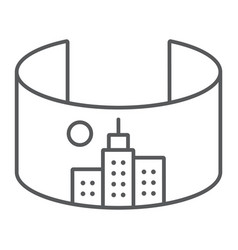 vr city thin line icon virtual and town virtual vector image