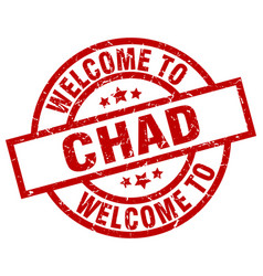 Welcome to chad red stamp vector