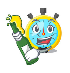 with beer cartoon stopwatch on for the race vector image