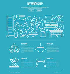 wood diy workshop poster in linear style vector image