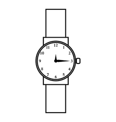 Wristwatch icon outline style vector