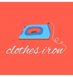 clothes iron lettering on red background vector image
