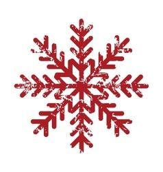 Red grunge snowflake logo vector image vector image