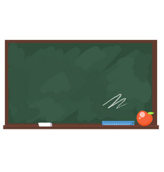 school board with chalk apple and ruler vector image