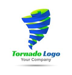 Tornado Colorful 3d Volume Logo Design Corporate vector image
