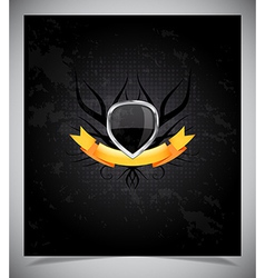 Abstraction dark background with metal badge vector