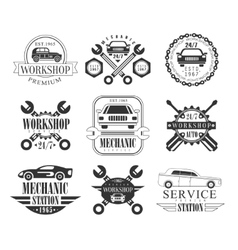 Auto Mechanic Black And White Emblems vector image vector image