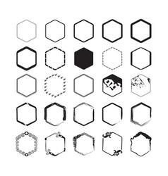 black hexagon styled borders emblems set on white vector image vector image