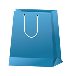 blue paper shopping bag handle package icon vector image